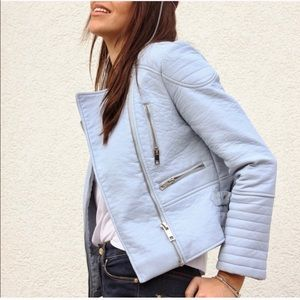 Baby Blue Zara Vegan Leather Jacket